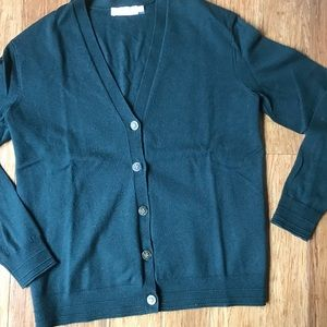 Tory Burch V-neck Cardigan Sweater, forest-green
